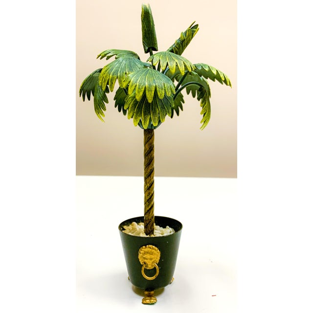 Metal Pair of Hollywood Regency Petite Choses Cold Painted Bronze Palm Trees For Sale - Image 7 of 9