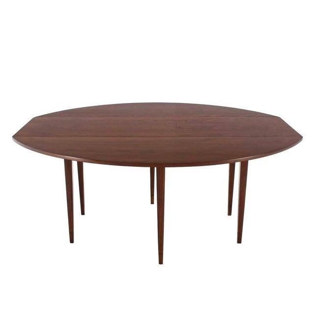 Danish Modern Drop Leaf Walnut Dining Table For Sale - Image 3 of 5
