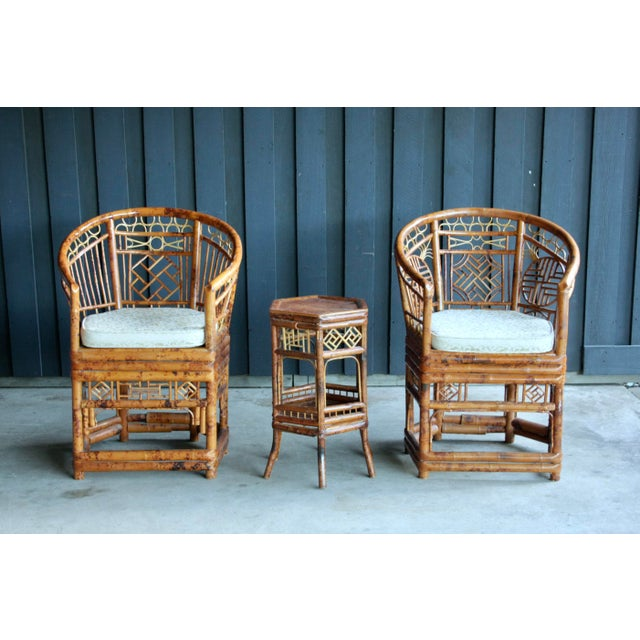 Pair of Brighton Pavillion Bamboo Chairs With Table, Set of 3 For Sale - Image 13 of 13