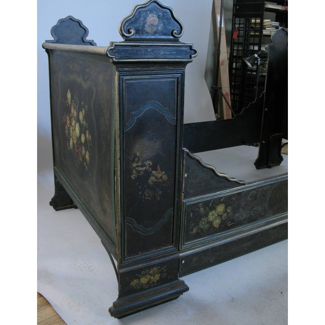 Antique Victorian Hand-Painted Cast Iron Bed For Sale - Image 4 of 8