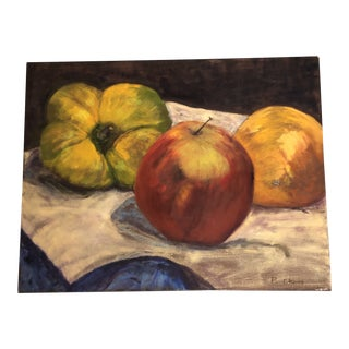 Original Vintage Still Life Painting Apple/Orange/Green Pepper Signed For Sale