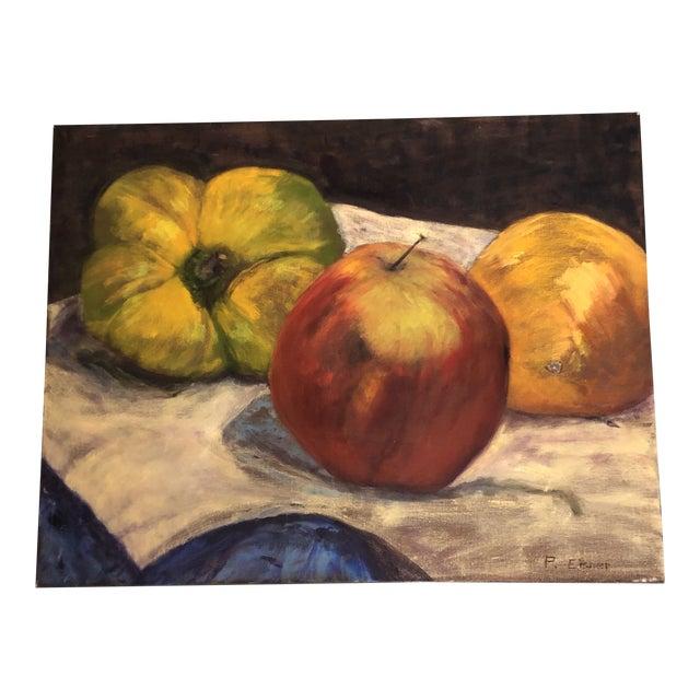 Original Vintage Still Life Painting Apple/Orange/Green Pepper Signed For Sale