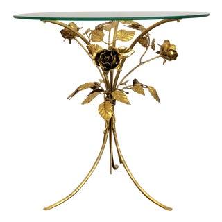 1960s Hollywood Regency Hans Kögl Flower Gilt Metal Side Table For Sale