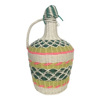 Vintage Woven Wrapped Bottle With Handle For Sale
