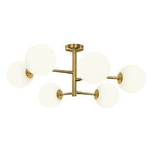 6 Arm Constellation Brushed Brass Pendant Light For Sale