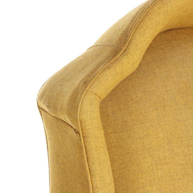 Fabric Vintage Mid-Century Porter's Chair in Mustard Wool Upholstery on a Limed Wood Base For Sale - Image 7 of 13