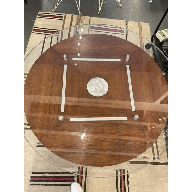 Vintage Brushed Steel and Wood Accent Table For Sale - Image 4 of 6