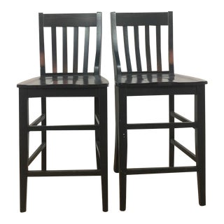 Black Wooden Bar Stools - A Pair