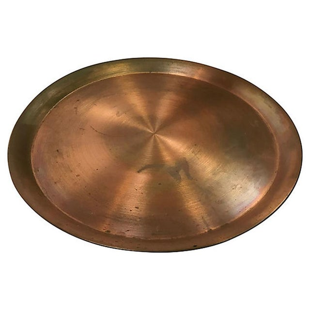 Mid-Century Modern Large Round Copper Tray For Sale - Image 3 of 6