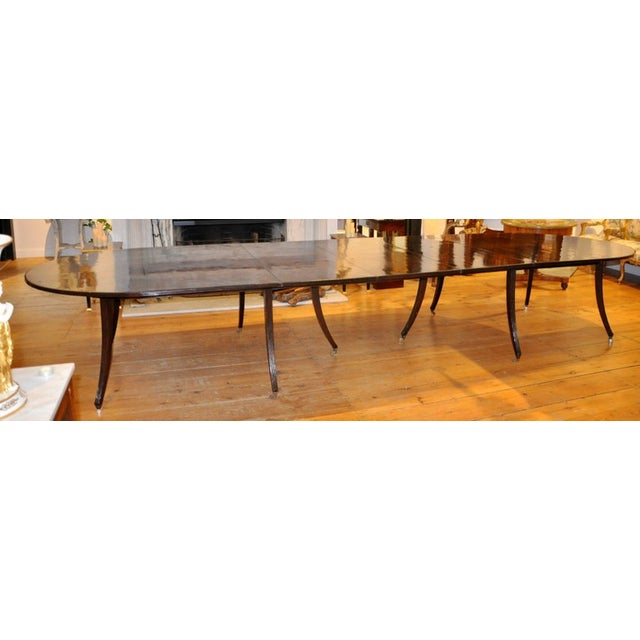 Custom Commissioned Mid-Century Style Dining Table in Mahogany --Reeded Splay Legs --Rich Mahogany Choice --In Regency...