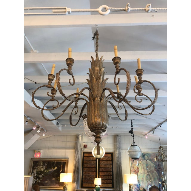 Contemporary Large Gilded 9 Arm Chandelier For Sale - Image 9 of 9