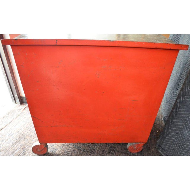 Orange Storage Cabinet on Wheels With Steel Top as Kitchen Isle, Wait Stand, Home Bar For Sale - Image 8 of 13