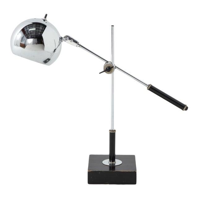 Chrome Midcentury Adjustable Desk Lamp For Sale