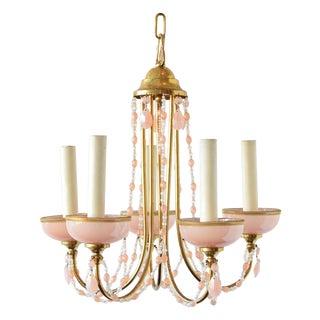 1950s Vintage Pink Crystal Murano Chandelier