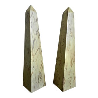 Traditional Hardwood Faux Painted Obelisks - a Pair