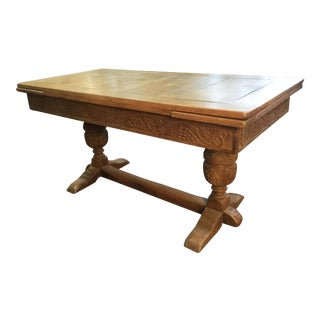 19th Century Belgian Carved Oak Expandable Refectory Style Dining Table For Sale
