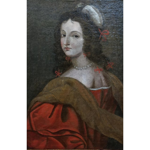 Realism 17th century Old Master-Portrait of a Elegant Woman- Oil painting For Sale - Image 3 of 10