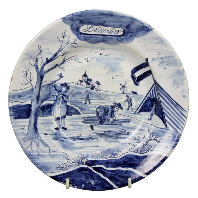Collection of Delft Blue and White Month Plates - Set of 14 For Sale - Image 9 of 13