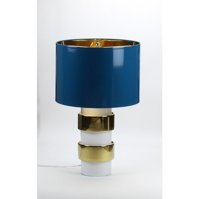High Gloss Teal Blue Drum Lamp Shade with Gold Lining Made To Order: 1-2 week lead time Individually hand-made Exterior...