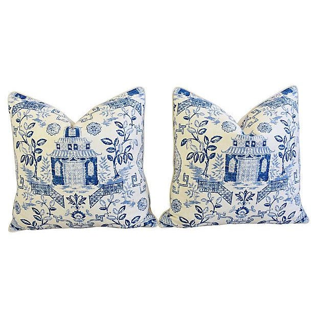 "Early 21st Century Custom Blue & White Chinoiserie Feather/Down Pillows 26"" Square - Pair For Sale - Image 5 of 13"