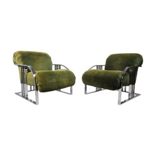 Rare Green Velvet Lounge Chairs by Milo Baughman