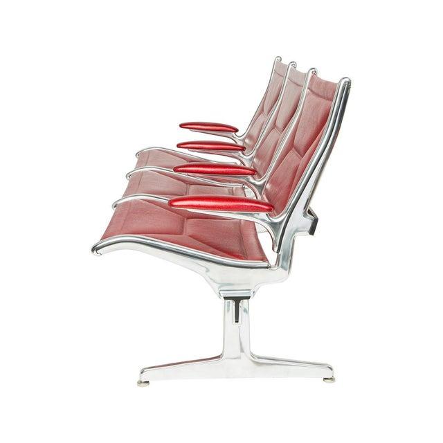 Red Eames for Herman Miller Tandem Sling Bench For Sale - Image 8 of 10