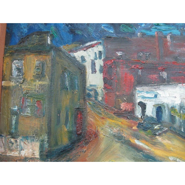 Mid 20th Century Portland Oregon Artist Virginia Holsman Cityscape Front St. Signed Oil Painting For Sale - Image 4 of 10
