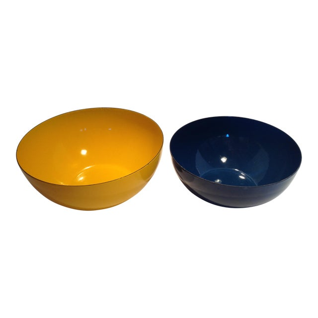 Rare Catherineholm Yellow & Blue Bowls - a Pair For Sale
