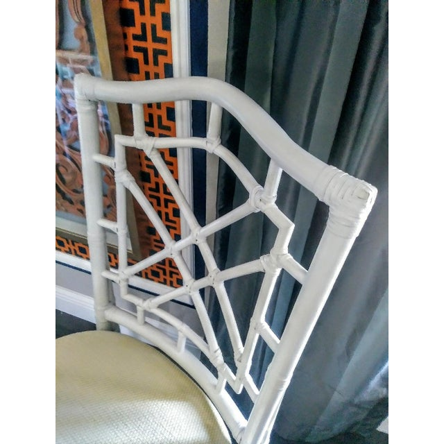 1970s Set of 4 Palm Beach Regency White Chippendale Fret Work Dining Room Chairs For Sale - Image 5 of 8