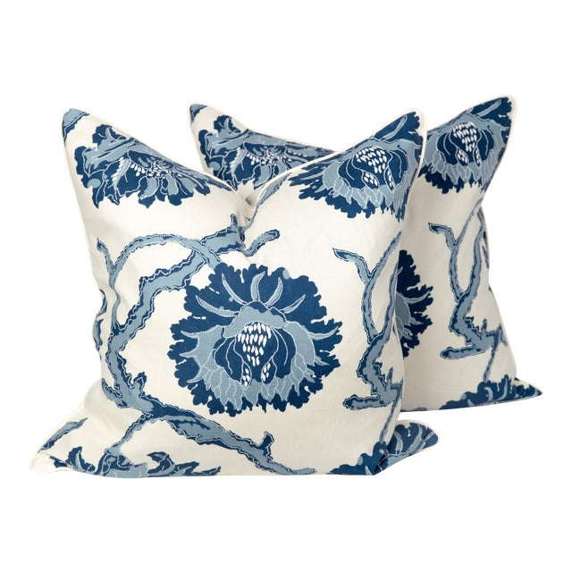 Blue and Ivory Peony Blossom Pillows - a Pair For Sale