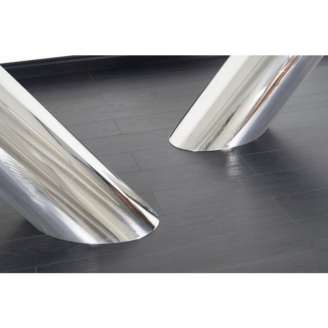 """Silver Brueton Polished Steel """"Zephyr"""" Table by J. Wade Beam - a Pair For Sale - Image 8 of 13"""