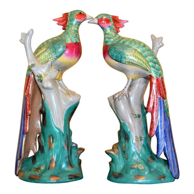 Chinese Export Porcelain Pheonix Bird Figurines - a Pair For Sale