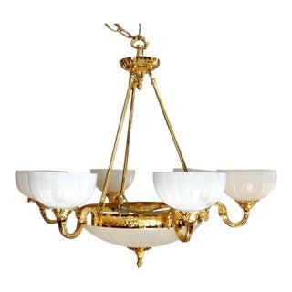 Empire 9-Light Brass & Alabaster Shade Chandelier For Sale