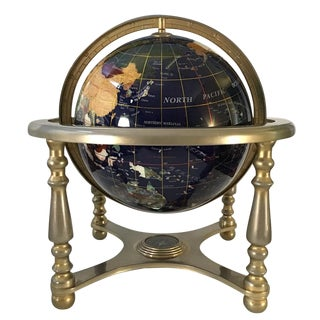 Blue Lapis Lazuli Gemstone World Globe on Stand For Sale