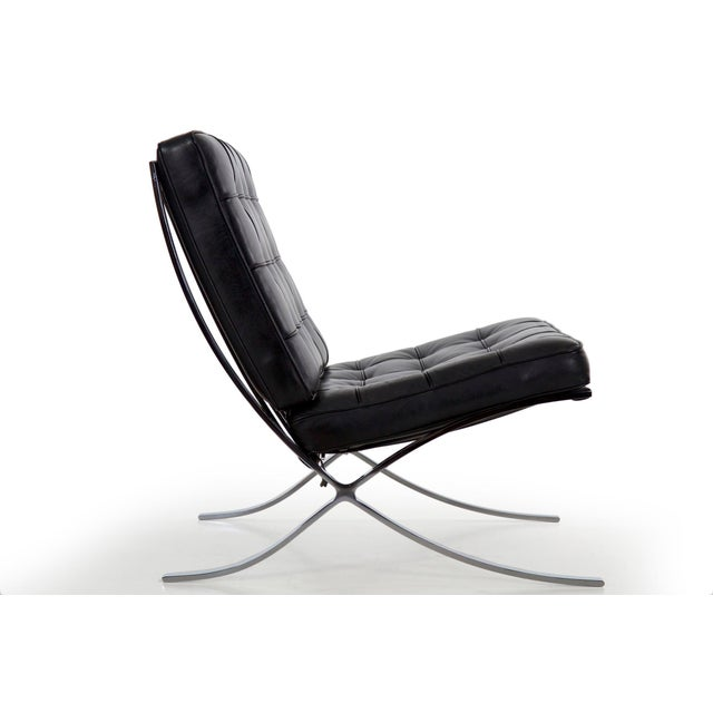 Mid-Century Modern Mid Century Modern Black Leather and Chrome Steel Barcelona Chair, Circa 21st Century For Sale - Image 3 of 13