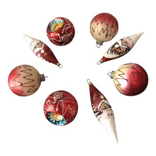 1960s German Glitter Christmas Ornaments - Set of 8 For Sale