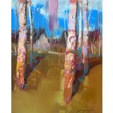 "Image of ""Birches Grove"" Landscape Original Handmade Artwork Oil Painting For Sale"