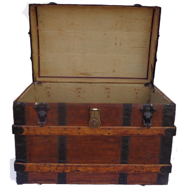 Antique Haines & Co. Box Trunk For Sale - Image 4 of 4