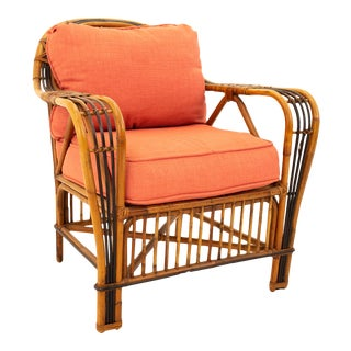 McGuire Style Mid Century Rattan Armchair For Sale