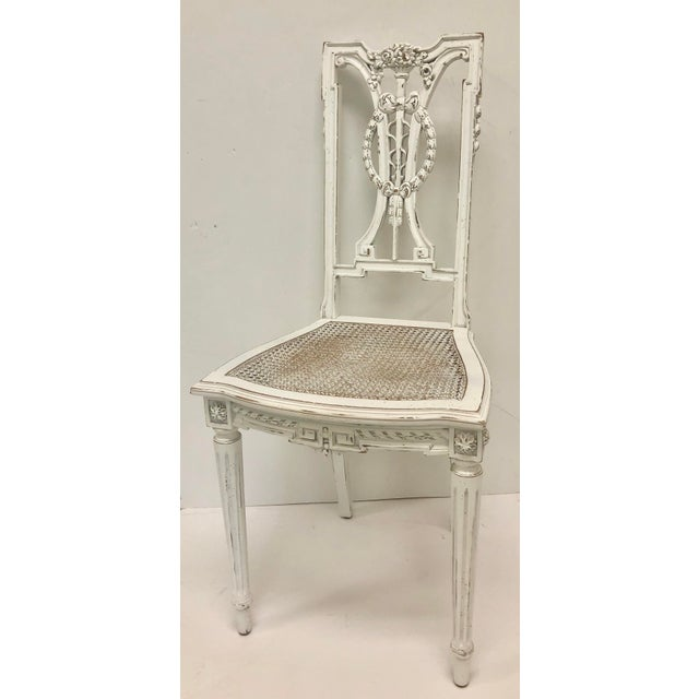 Wood F. Louis XVI Chair Hand Carved in White For Sale - Image 7 of 7