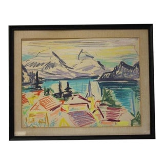 "1960s Vintage ""Mountain Landscape"" Drawing by Werner Drewes For Sale"