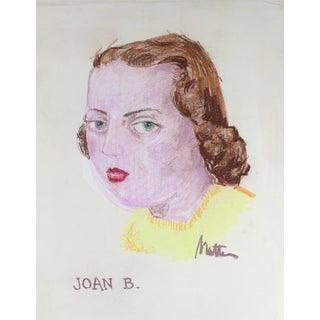 "Rip Matteson ""Joan B."" Portrait Illustration of Girl With Red Lipstick in Pastel, Circa 1945 Circa 1945 For Sale"