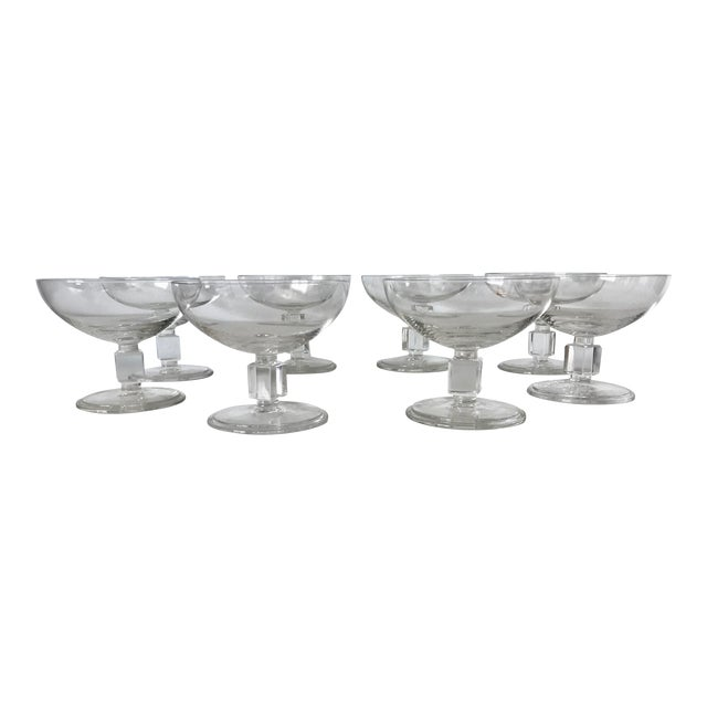 Vintage Mid-Century Nevel Cube Stem Crystal Coupe Champagne Glasses by Val St. Lambert - Set of 8 For Sale