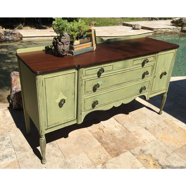Traditional Vintage Green Milk Paint Buffet Sideboard Credenza For Sale - Image 3 of 11