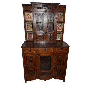 Spanish Colonial Eclectic Antique Curio Cabinet/Armoire For Sale