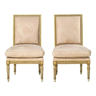 19th C. French Giltwood and Painted Chairs....a Pair For Sale