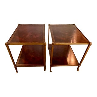 1960s Regency Brass and Wood Banded Side Tables on Casters - a Pair For Sale