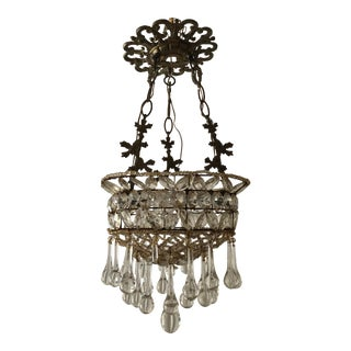 Italian Three-Tier Crystal Beaded Chandelier With Murano Glass Drops For Sale
