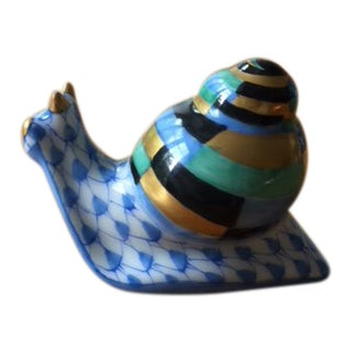 2000s Transitional Herend Baby Snail Porcelain Figurine