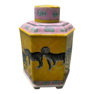 Chinoiserie Tiger Ginger Jar For Sale